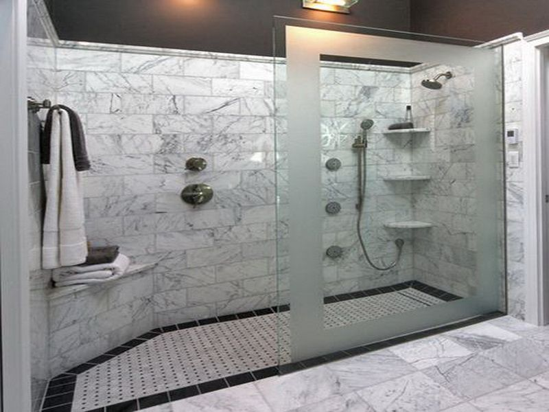 Large walk in bathroom with shower